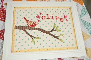 Baby Bird Quilted Wall Art