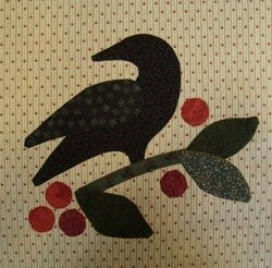 Crow on Berry Branch Applique
