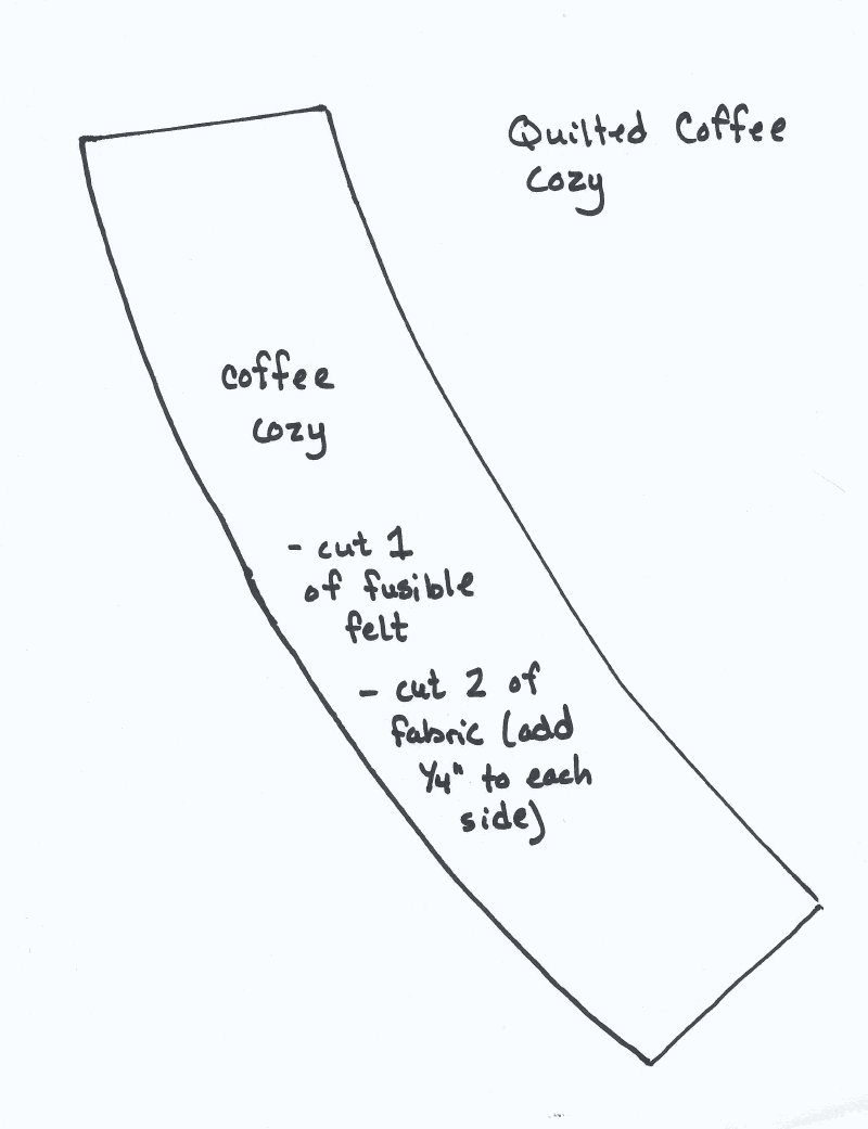 coffee cup wrapper template - quick quilted coffee cozy